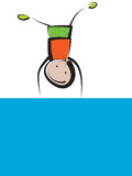 Chłopiec na błękitnym sztandarze Zdjęcia Stock