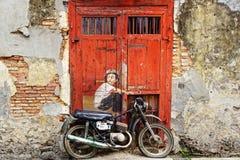 Chłopiec na Bik malowidle ściennym Fotografia Royalty Free