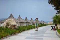 Chłopiec na hulajnoga Fotografia Royalty Free