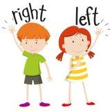 Chłopiec na prawej dziewczynie na lewicie ilustracji