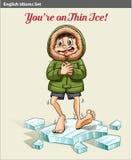 Chłopiec nad lodowy blok royalty ilustracja