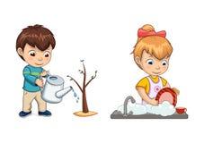 Chłopiec Nawadnia drzewo dziewczyny i flancy obmyć naczynia ilustracja wektor