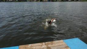Chłopiec nur wewnątrz od pedałowej łodzi w wodzie zbiory wideo