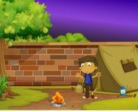 Chłopiec obozowicz ilustracji