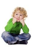 chłopiec obsiadanie marzycielski podłogowy Fotografia Royalty Free