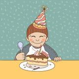 Chłopiec odświętności urodziny z tortem Zdjęcie Royalty Free