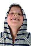 chłopiec odizolowywający roześmiany mały sportswear biel zdjęcie royalty free