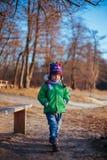 Chłopiec odprowadzenie w jesień parku Obraz Stock