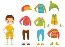 Chłopiec odziewa kolekcję, set odzieżowe i akcesoria wektoru ilustracje ilustracji
