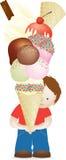 chłopiec ogromny lody ilustracja wektor