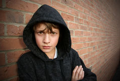 chłopiec okapturzający wierzchołek Fotografia Royalty Free