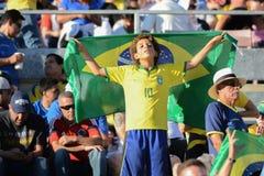 Chłopiec piłki nożnej fan z flaga podczas Copa Ameryka Centenario Zdjęcia Stock