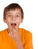 chłopiec pigułki zabranie Fotografia Stock