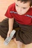 chłopiec pilot kontrolny mały tv Obrazy Royalty Free