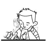 Chłopiec pisze ptasim dopatrywaniu ilustracji