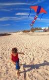 chłopiec plażowa kania Obrazy Royalty Free