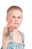 Chłopiec pokazywać palmy. Obrazy Royalty Free
