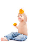 chłopiec pomarańcze Zdjęcie Royalty Free