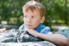 chłopiec portret kołysa smutnego Zdjęcie Royalty Free