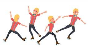 Chłopiec postaci łyżwiarki wektor kiting rzeczna narciarska śnieżna sport zima Łyżwiarki samiec Różne pozy W akci Płaska kreskówk Obraz Stock