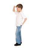 Chłopiec pozuje na bielu Obraz Royalty Free