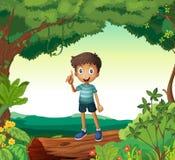 Chłopiec pozycja na drewnie w naturze ilustracji