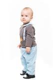 Chłopiec pozycja odizolowywająca na białym backgroung obrazy stock