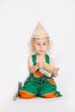 Chłopiec pracownik z farby muśnięciem Zdjęcie Royalty Free