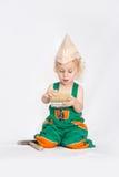 Chłopiec pracownik z farby muśnięciem Fotografia Royalty Free