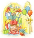 chłopiec prezenty ilustracji