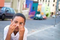 Chłopiec przy Bo Kaap sąsiedztwem, Kapsztad Obrazy Royalty Free