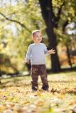 Chłopiec przy jesień parkiem zdjęcia stock