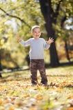 Chłopiec przy jesień parkiem fotografia royalty free