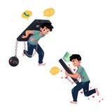 Chłopiec przykuwał ogromny telefon, niezdolny zatrzymywać gawędzić ilustracji