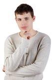 chłopiec przyrodni lengh portret nastoletni zdjęcia stock