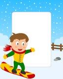 chłopiec ramowy fotografii jazda na snowboardzie Obraz Royalty Free