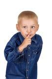 Chłopiec robi cisza gestowi fotografia royalty free