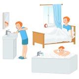 Chłopiec robi jego ranek rutynowej wektorowej ilustraci royalty ilustracja