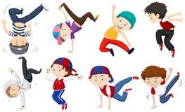 Chłopiec robi różnym dancingowym akcjom royalty ilustracja