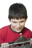 chłopiec rowerowy naprawianie Obraz Royalty Free