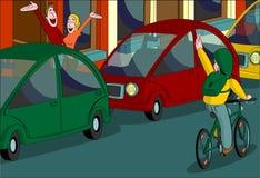 Chłopiec roweru falowania mamy tata Zdjęcie Stock