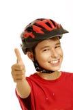 Chłopiec roweru hełm Zdjęcia Royalty Free