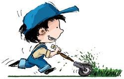 chłopiec rozcięcia ogródu gazonu kosiarza ja target2332_0_ Obraz Stock