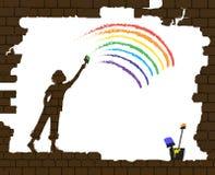 Chłopiec rysuje tęczę na starym łamającym ściana z cegieł, życie po wojny, nowy życie po katastrofa pomysłu, graffiti, royalty ilustracja