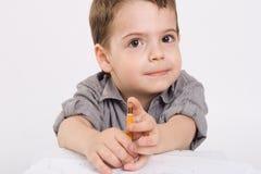 chłopiec rysunku ołówek który Zdjęcie Stock