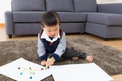 Chłopiec rysunku obrazek zdjęcia stock
