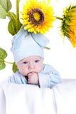 chłopiec słoneczniki fotografia royalty free