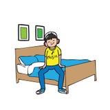 Chłopiec słucha muzykę w łóżkowym pokoju ilustracja wektor