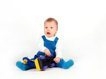 chłopiec samochodów szczęśliwe małe bawić się zabawki fotografia royalty free