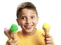 chłopiec seans szczęśliwy lodowy zdjęcia royalty free